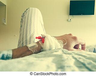 患者, ポイント, 医学, bed., あること, 光景
