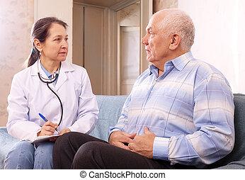 患者, 不平を言う, docto, 痛み, マレ, 側