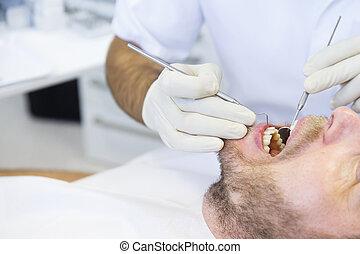 患者, 中に, 歯のオフィス, 上に, レギュラー, 健康診断