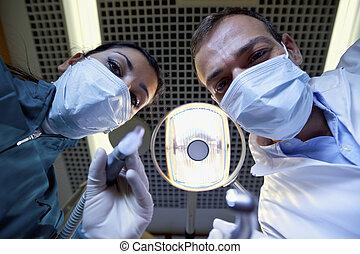 患者, 仕事, 助手, 歯科医, 歯, 中身, 病気