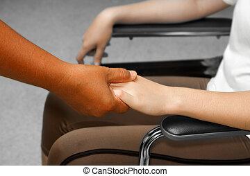 患者, 医者, 車椅子, 手の 保有物, 's