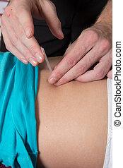 患者, 女性, 背中, reflexologist, 刺鍼術