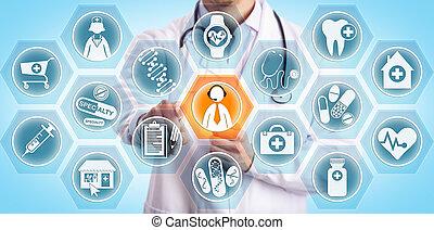 患者, 手を伸ばす, リモート, から, 臨床医, 若い