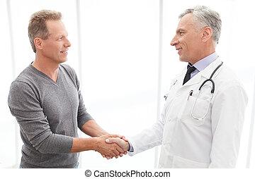 患者, 手, 感谢, 成熟, 医生, patient., 振动