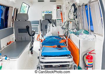 患者, 装置, 救急車, 内部, 必要である, 心配