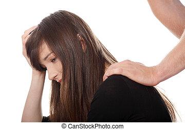 悩まされている, 若い 女の子, 慰められた, によって, 彼女, boyfriend.