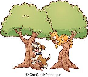 悪事, 木, 吠える, の上