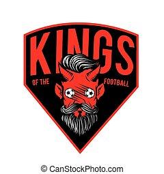 悪魔, イメージ, フットボール, ベクトル, 背景, 国王, 赤