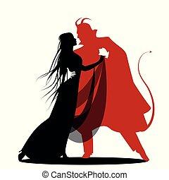 悪魔, シルエット, ロマンチック, ダンス, ハロウィーン, 隔離された, dance., lady.