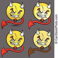 悪魔, セット, smiley