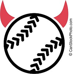 悪魔, ソフトボール, 角
