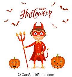 悪魔, ハロウィーン, カボチャ, 衣装, 赤, 子供