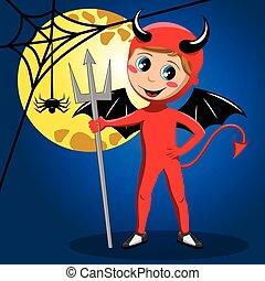 悪魔, ハロウィーン, 月, フルである, 衣装, 子供