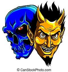 悪魔, ベクトル, イラスト, 頭, 頭骨, 悪魔
