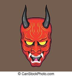 悪魔, マスク, 日本語, 赤