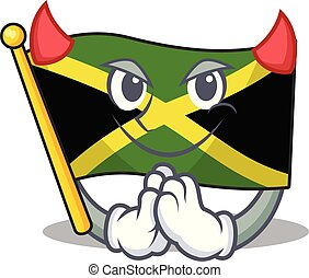 悪魔, マスコット, 特徴, 旗, 形づくられた, ジャマイカ
