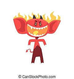 悪魔, モンスター, 火, 大きい, 怒る, 燃えている, 特徴, 隔離された, 尾, white., 角, 耳, 目, 光沢がある, 漫画, 赤