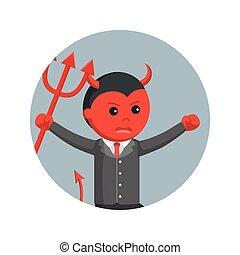 悪魔, 保有物, ビジネス, 怒る, trident, 動くこと, 背景, 円, 人
