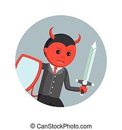 悪魔, 保護, ビジネス, 剣, 背景, 円, 充満, 人