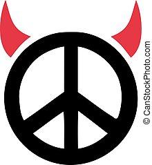 悪魔, 印, 平和, 角