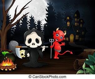 悪魔, 夜, 死神, 屋外で, 漫画, 赤