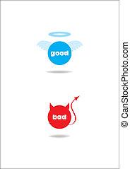 悪魔, 天使, -, ひどく, よい, symbol;