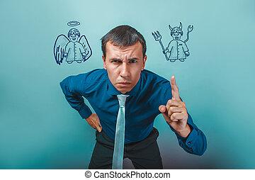 悪魔, 天使, 怒る, 彼の, 指, infographics, ビジネスマン, ショー, 人