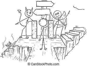 悪魔, 天使, 方法, 提示, 2, ベクトル, 矢, サイン, 地獄, 天国, 漫画, 空, 人