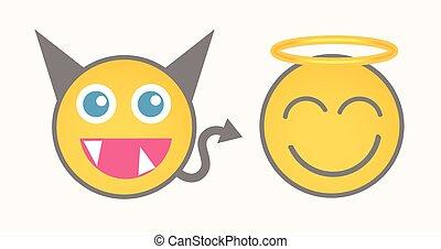 悪魔, 天使, smiley