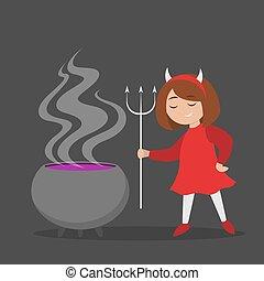 悪魔, 女の子, ハロウィーンの衣装, ポット, わずかしか