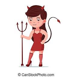悪魔, 女の子, 地位, 干し草用フォーク