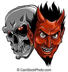 悪魔, 悪魔, イラスト, 頭骨, ベクトル, 頭