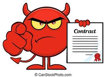 悪魔, 指すこと, 怒る, 特徴, 契約, 指, 保有物, 漫画, 赤, emoji