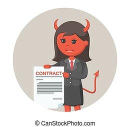 悪魔, 提供, 女性実業家, 契約, 背景, 円