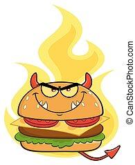 悪魔, 炎, 上に, 特徴, 漫画, バーガー, 怒る, マスコット