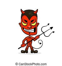 悪魔, 特徴, 悪, スポーツ, 顔, 漫画, にやにや笑い, マスコット