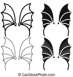 悪魔, 紋章, 要素, dragon., セット, ロゴ, ∥あるいは∥, 翼