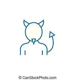 悪魔, 線である, 印, concept., シンボル, ベクトル, 衣装, 線, アイコン, illustration.