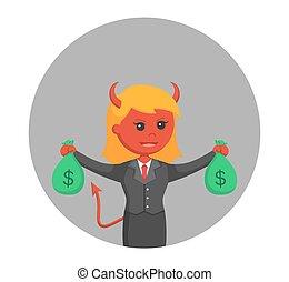 悪魔, 袋, 女性実業家, 背景, お金, 円