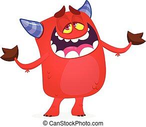 悪魔, 面白い, 赤, 特徴, ベクトル, horns., 漫画, イラスト