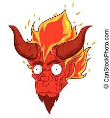 悪魔, 頭, ベクトル, 赤