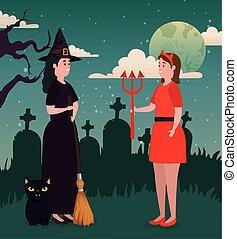 悪魔, 魔女, デザイン, ハロウィーン, 彼女