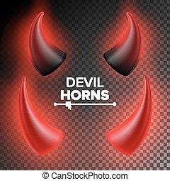 悪魔, illustration., 悪魔, horn., 隔離された, 現実的, 黒, vector., 角, 明るい, 透明, 赤, set.