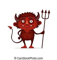 悪魔, trident, ハロウィーン, 漫画, ベクトル, style., 赤