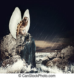 悲しい女性, 天使, ∥で∥, 白, 翼