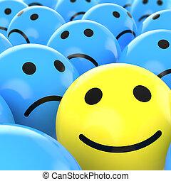 悲しい, の上, 幸せ, 一人一人, 終わり, beteen, smiley