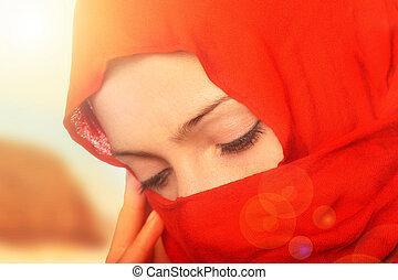 悲しい, アラビア, 女