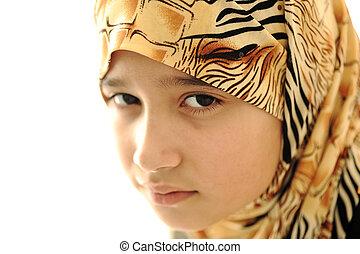 悲しい, カバーされた, muslim, 女の子