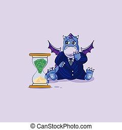 悲しい, ビジネス, ドラゴン, スーツ, 座る, 砂時計