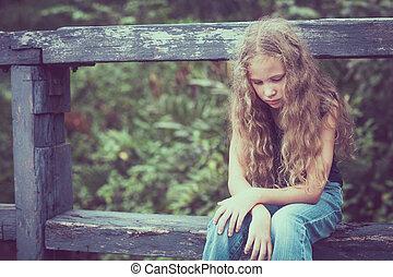悲しい, 十代, ブロンド, 肖像画